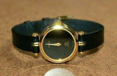 Vintage Gucci 18k Gold Plated Ladies Black Dial Swiss Quartz Watch 2000M [050WEI