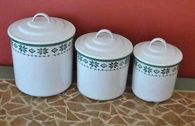 Vintage RALPH LAUREN Enamaled Canisters, Set of 3 Green & White