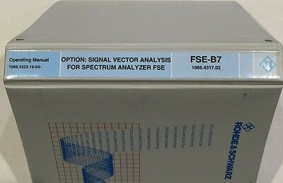 Rs Vector Signal Analyzer Option Fse-b7 Operating Manual Pn 1066.4323.19-04