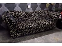 Truly Stunning Chesterfield Black & Cream Velvet Large 3 Seater Sofa - UK Delivery
