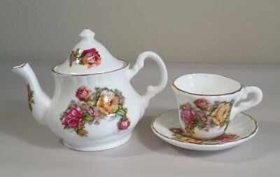Miniature Polly Anna Floral English Teapot Cup and Saucer Set for sale  Shipping to Canada