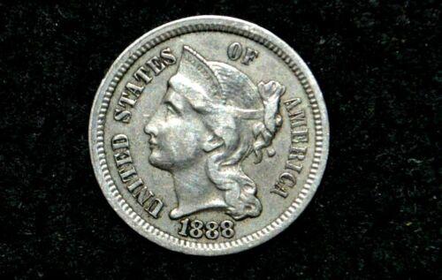 1888 Three Cent Nickel 3C ** XF+ **FULL LIBERTY** Low Mintage ** Key Date
