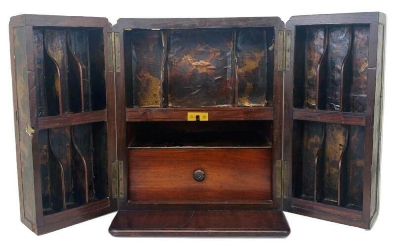 Antique 19thC Mahogany Wood Travel Apothecary Case Doctor Medicine Cabinet Box