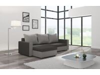 Corner sofa bed black and grey with storage universal right or left handside