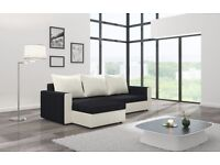 Corner sofa bed black and white with storage