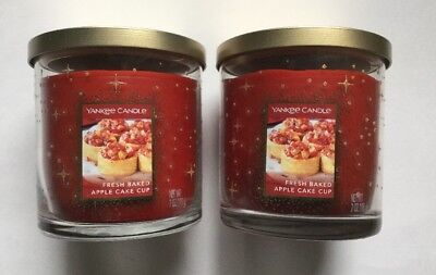 Yankee Candle COOKIE SWAP FRESH BAKED APPLE CAKE CUP 7 oz. TUMBLERS X 2