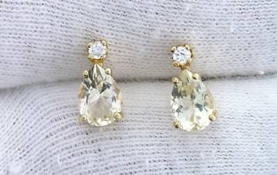 14Kt REAL Yellow Gold 7x5 Pear Labradorite Andesine Zircon Gemstone Earrings