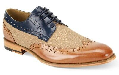 Dress Shoes Free Shipping - Men's Dress Shoes Wing Tip Oxford Tan/Navy Blue Leather GIOVANNI HUNTER