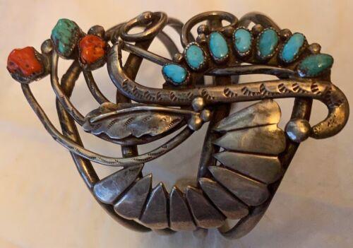 Best! Zuni Leonard Lula Weebothee & Lewis Lomay Kingman Turquoise Coral Bracelet