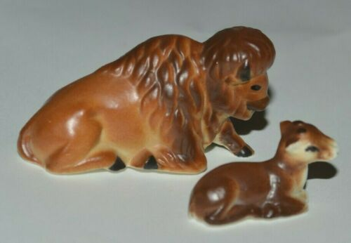 Vintage Miniature Bison Buffalo with Calf Bone China Figurines