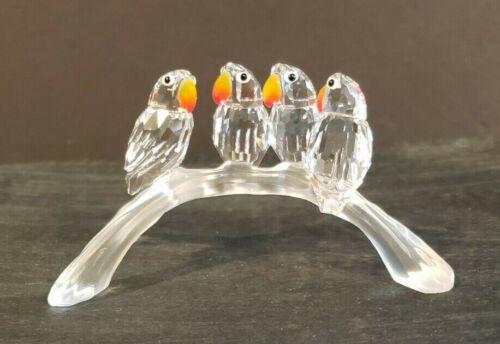 Swarovski Austrian Crystal Baby LOVEBIRDS Parakeets - 4 on Frosted Branch