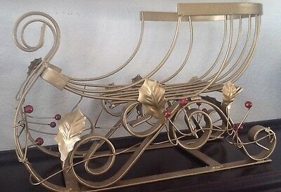 Vintage Metal Gold Painted Snow Sled Christmas Decor Centerpiece Sleighs