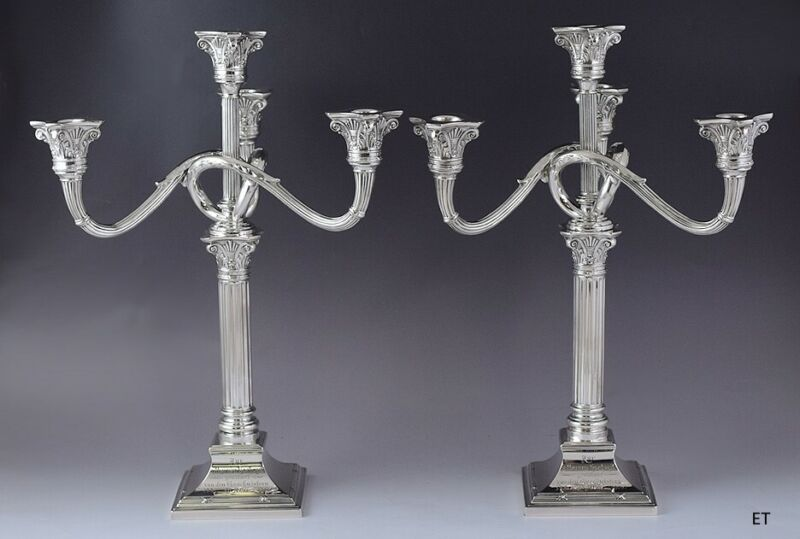 2 Antique 1906 Large German 800 Silver Convertible Candelabra Candlesticks 16""
