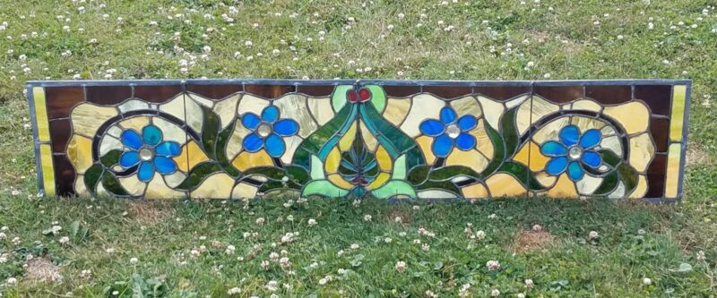 INCREDIBLE ANTIQUE STAINED GLASS WIDE TRANSOM WINDOW RECENT REFURBISH NYC AREA