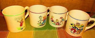 4 AWESOME ANTIQUE CHILDRENS MUGS-OVALTINE ORPHAN ANNIE,UNCLE WIGGLY,SEESAW,DOCK