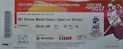 TICKET Bronze Medal Eishockey WM 21.5.2017 Russia Russland - Finnland
