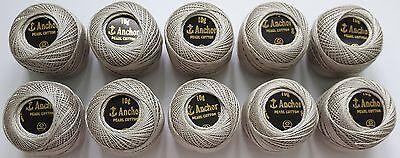 10 x Silver Colour Anchor Crochet Cotton Thread Balls * Size no.8