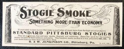 9/1897 STANDARD PITTSBURG STOGIES Vtg Cigar Smoking Print Ad~R&W Jenkinson Co,PA