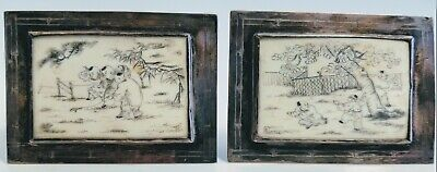 Pair of 1920s Chinese Hand-Engraved Playful Scenes in Silver Frames