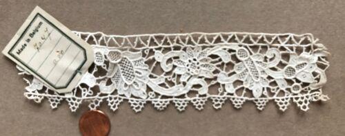 Vintage handmade Belgian needle lace study piece with shop label