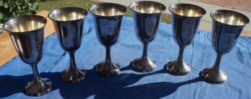 """Wine Goblets 6 ¾ """" Tall Silverplate set of 6B"""