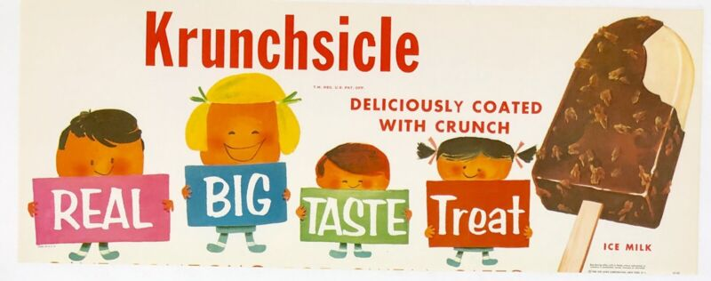 Vintage Krunchsicle Ice cream Store Advertising Litho Paper Sign 1960