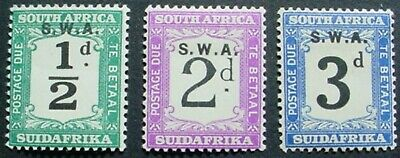 1928 SOUTH WEST AFRICA:  POST DUE COLLECTION OF 3 MLH STAMPS OFF PAPER:
