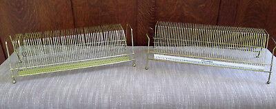 x2 Lot Vintage Brass Metal Wire Gold 45 Vinyl LP Record Rack Holder Holds 60