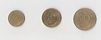 5 ,10 und 20 Centimes Frankreich  1984    (1896)   andere Jahrgänge auf Anfrage