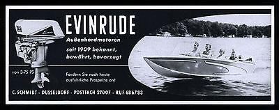 Werbung Reklame 1960 EVINRUDE 04 Außenbordmotoren EC. Schmidt Düsseldorf