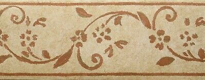 PRIDE 13cm x 8m Wallpaper BORDER Brown Beige Textured Vinyl TIVOLI Floral - Brown Floral Trail Wallpaper