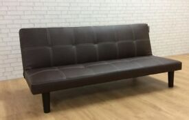 SOFA BED IN BROWN FAUX LEATHER .