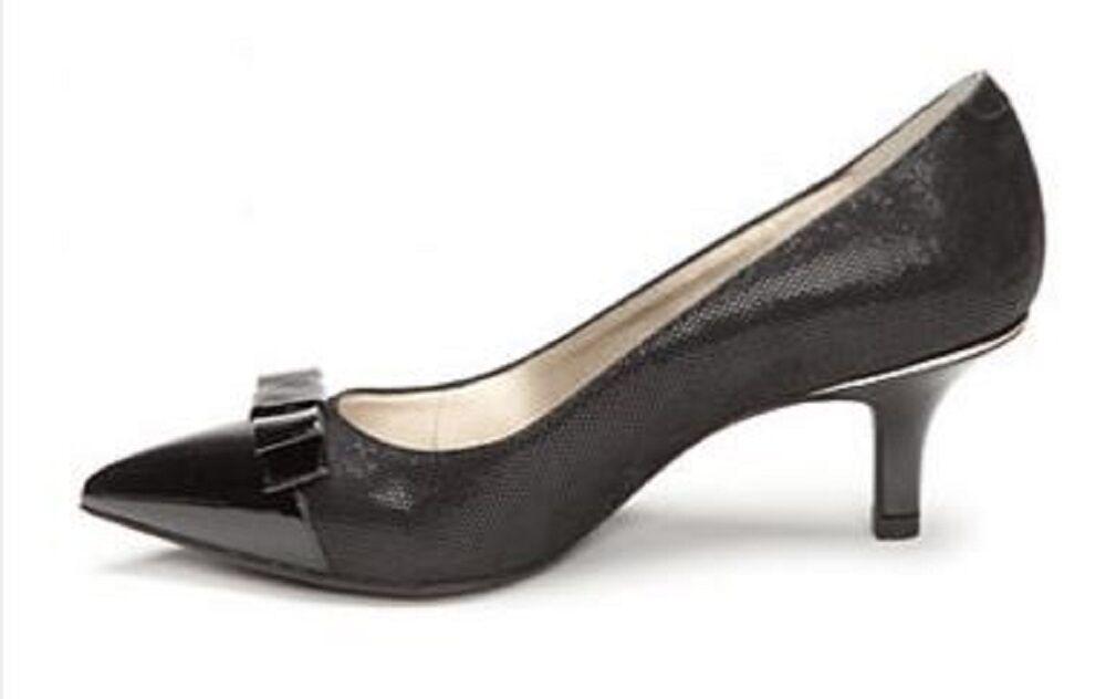 Women's AK Anne Klein Sport FLOUNCY Cap Toe Kitten Heels Dress Pumps Black 1