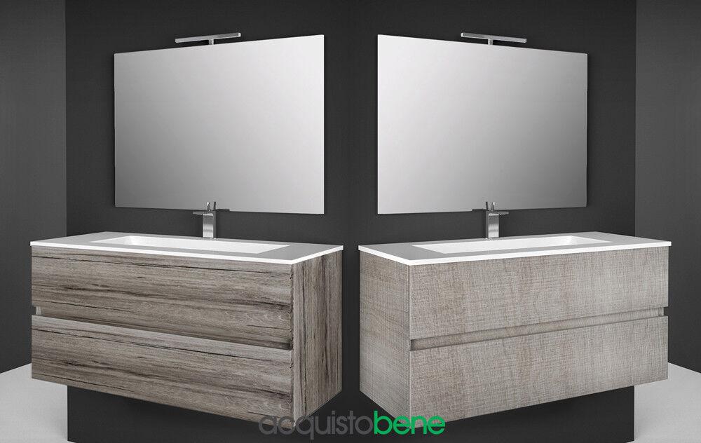 Mobile Bagno Sospeso completo 2 Cassetti Specchio illuminazione led e lavabo