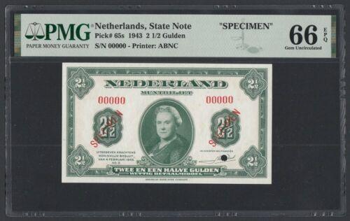 Netherlands SPECIMEN 2 1/2 Gulden 1943 UNC (Pick 65s) PMG-66 EPQ
