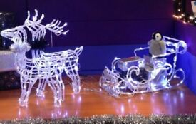 LED Christmas reindeers and sleigh