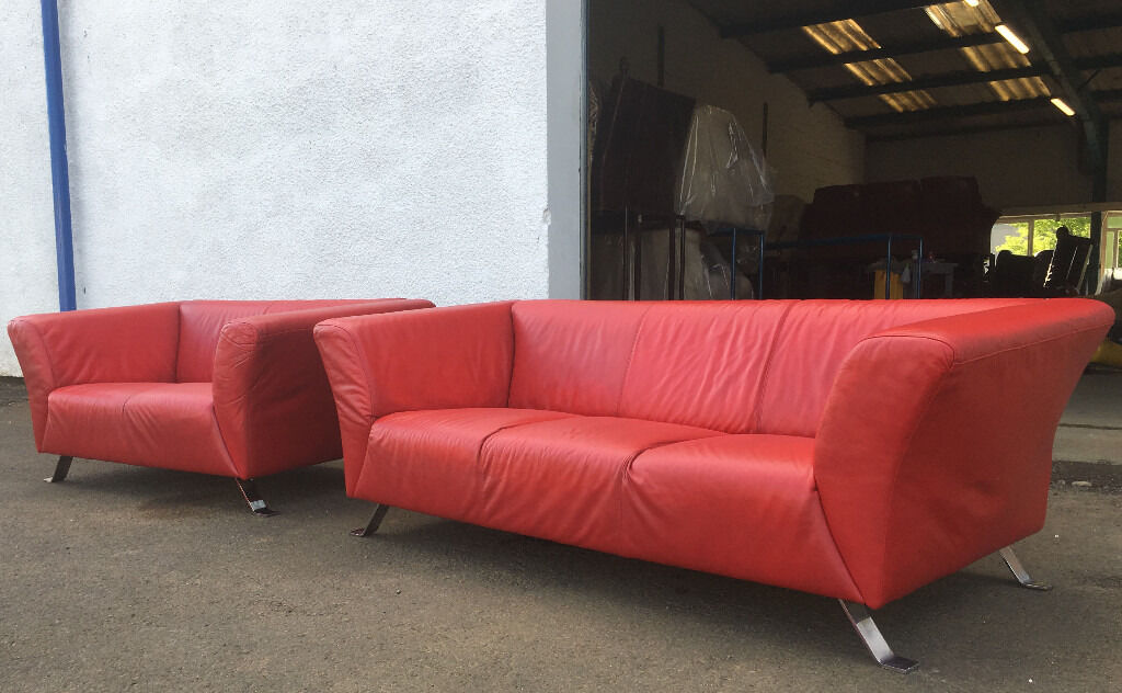 3+2 Lind Dark Red Leather Sofas DELIVERY AVAILALBE | In Edinburgh