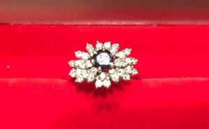 Natural Diamond and Dark Blue Sapphire  in 18K White Ring (Size 7)