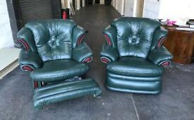 Green leather Chesterfield recliner chairs Can deliver