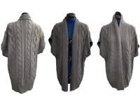 AUSTIN REED with CASHMERE and RABBIT HAIR MIX OPEN GREY KNIT CARDIGAN JACKET Size M