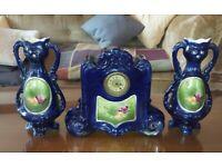 Josef strnact austria rare cobalt blue clock & vase set