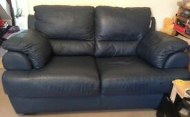 2 and 3 seat blue DFS leather sofa-will sell individually
