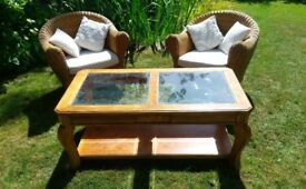 Coffee table - wood with glazed panels in top, in good condition