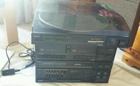 Akai record player with cassette player and radio and speakers