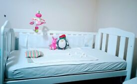 White crib/cot included mattress with cover is used but very good condition