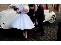 Wedding Dress Candy Anthony Designed , 50s style, white polka dot, amazing full red petticoat