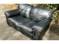 Black Leather 2 Seater Sofa Can Deliver
