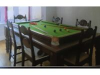 """Dining table / snooker table 84"""" x 50"""" plus 6 chairs"""