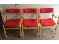 Red fabric wooden chairs