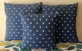 NEW Handmade 40cm x 40cm Denim Blue & White Spots Cushion for Christmas Gift - collect from Gosport